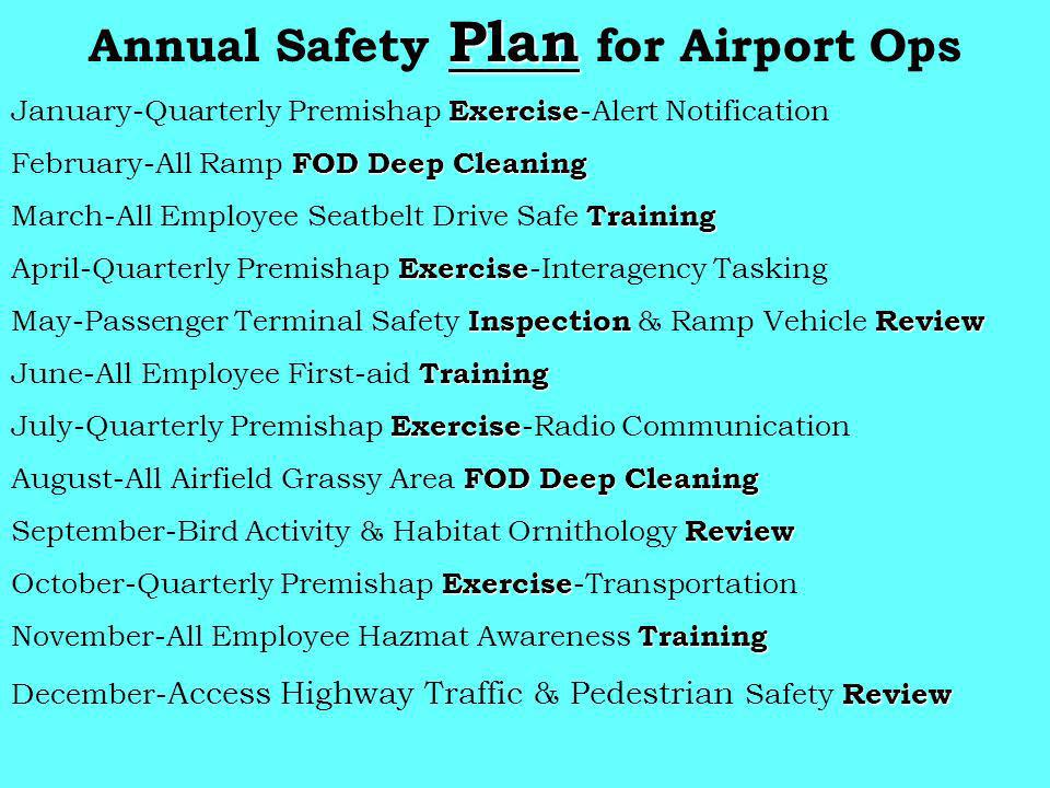 Plan Annual Safety Plan for Airport Ops Exercise January-Quarterly Premishap Exercise -Alert Notification FOD Deep Cleaning February-All Ramp FOD Deep