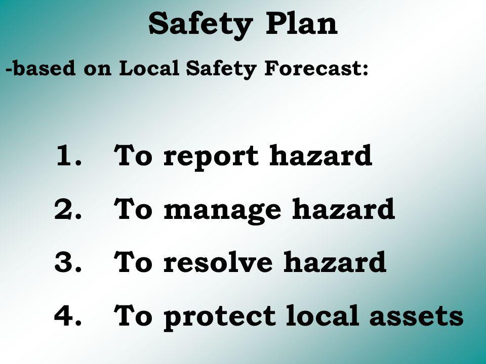 Safety Plan -based on Local Safety Forecast: 1. To report hazard 2. To manage hazard 3. To resolve hazard 4. To protect local assets
