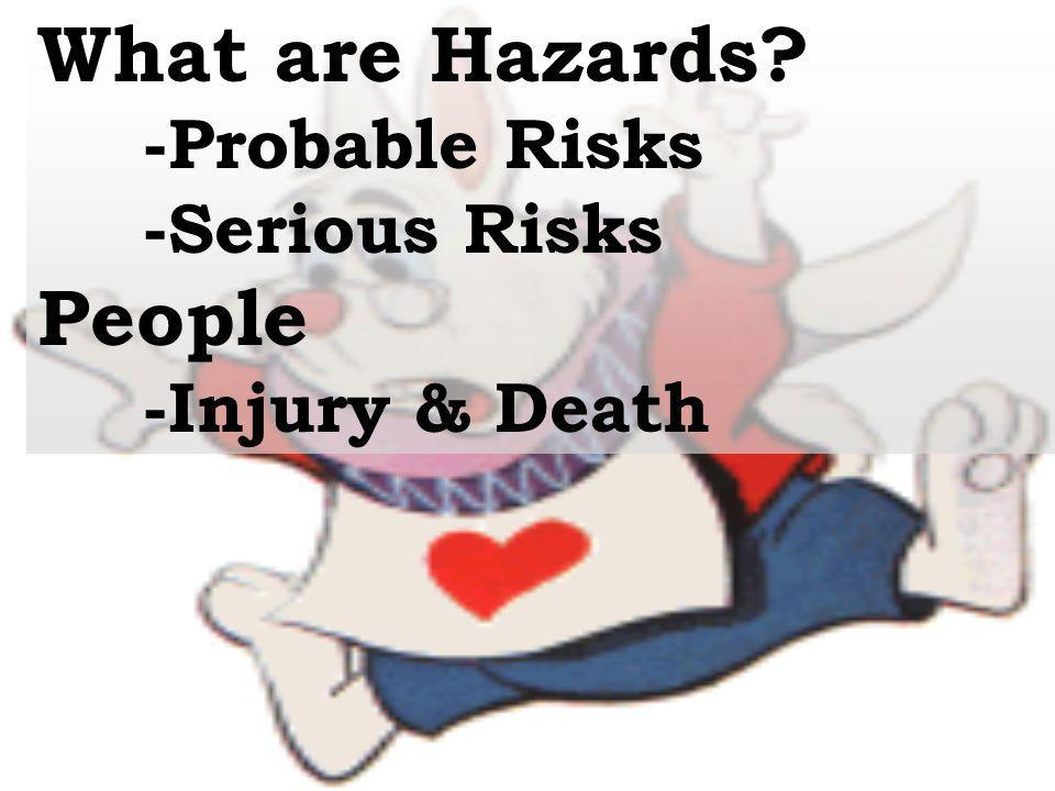 What are Hazards? -Probable Risks -Serious Risks People -Injury & Death