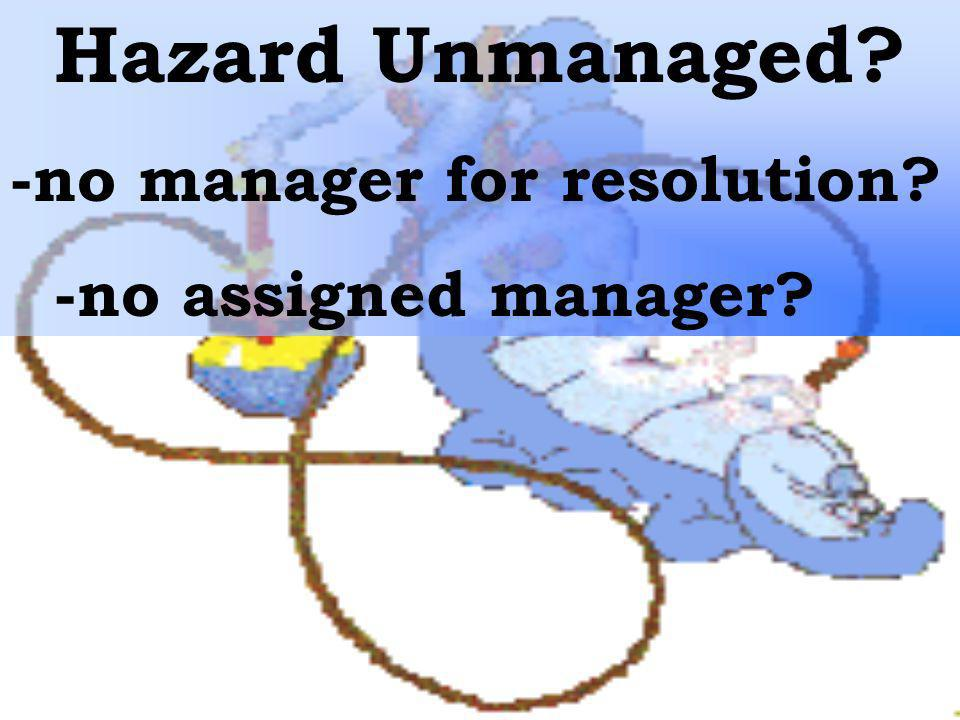 Hazard Unmanaged? -no manager for resolution? -no assigned manager?