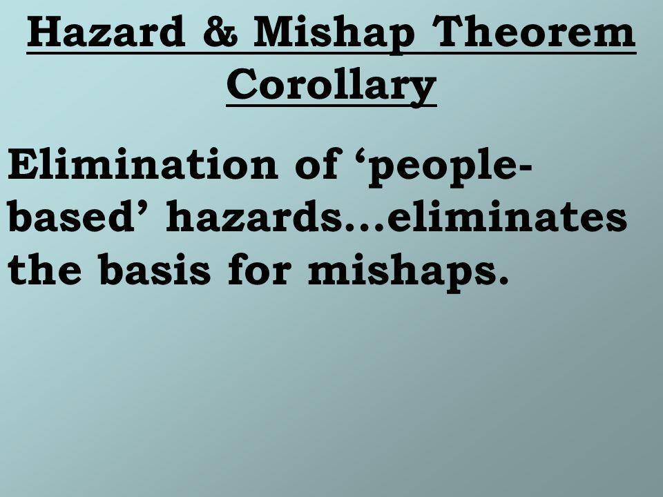 Hazard & Mishap Theorem Corollary Elimination of people- based hazards…eliminates the basis for mishaps.