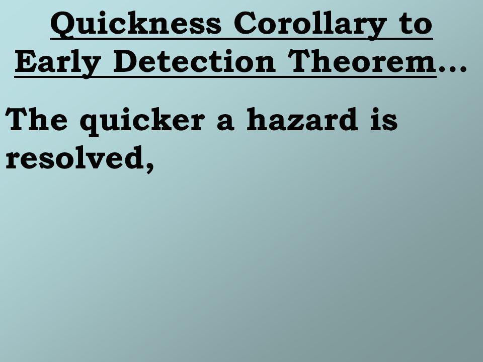 The quicker a hazard is resolved,