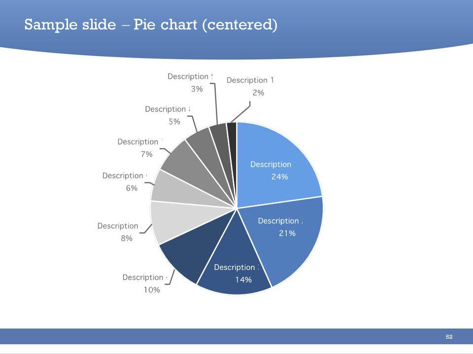 52 Sample slide Pie chart (centered)