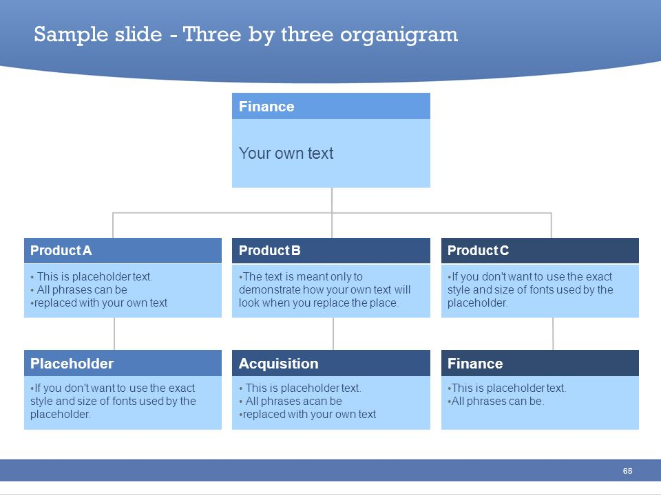 65 Product A Finance PlaceholderAcquisitionFinance Product CProduct B Your own text This is placeholder text. All phrases can be replaced with your ow