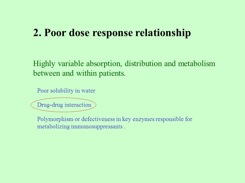 Poor solubility in water 2. Poor dose response relationship Polymorphism or defectiveness in key enzymes responsible for metabolizing immunosuppressan