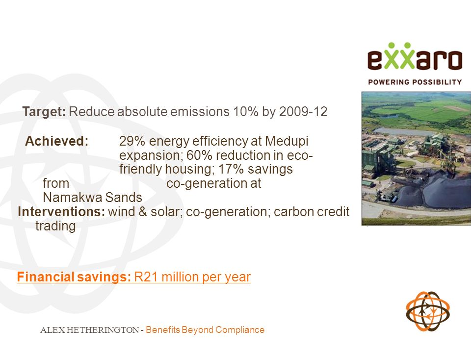 ALEX HETHERINGTON - Benefits Beyond Compliance Target: Reduce absolute emissions 10% by Achieved: 29% energy efficiency at Medupi expansion; 60% reduction in eco- friendly housing; 17% savings from co-generation at Namakwa Sands Interventions: wind & solar; co-generation; carbon credit trading Financial savings: R21 million per year