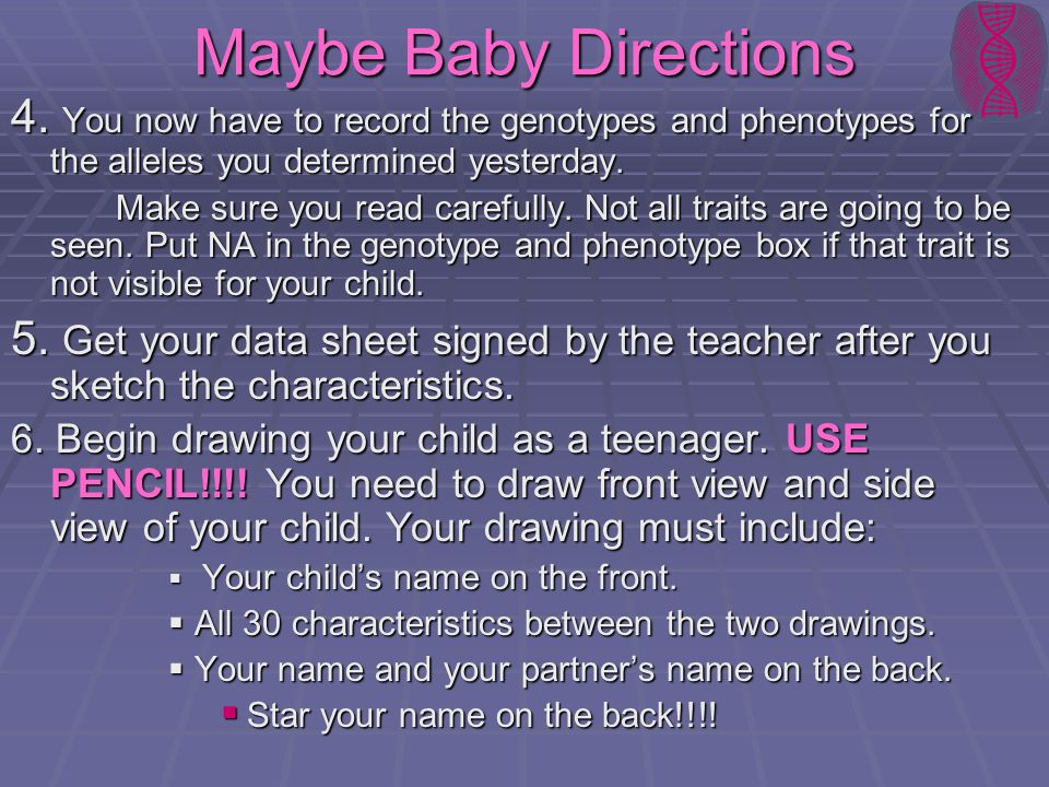 Maybe Baby Directions 4. You now have to record the genotypes and phenotypes for the alleles you determined yesterday. Make sure you read carefully. N