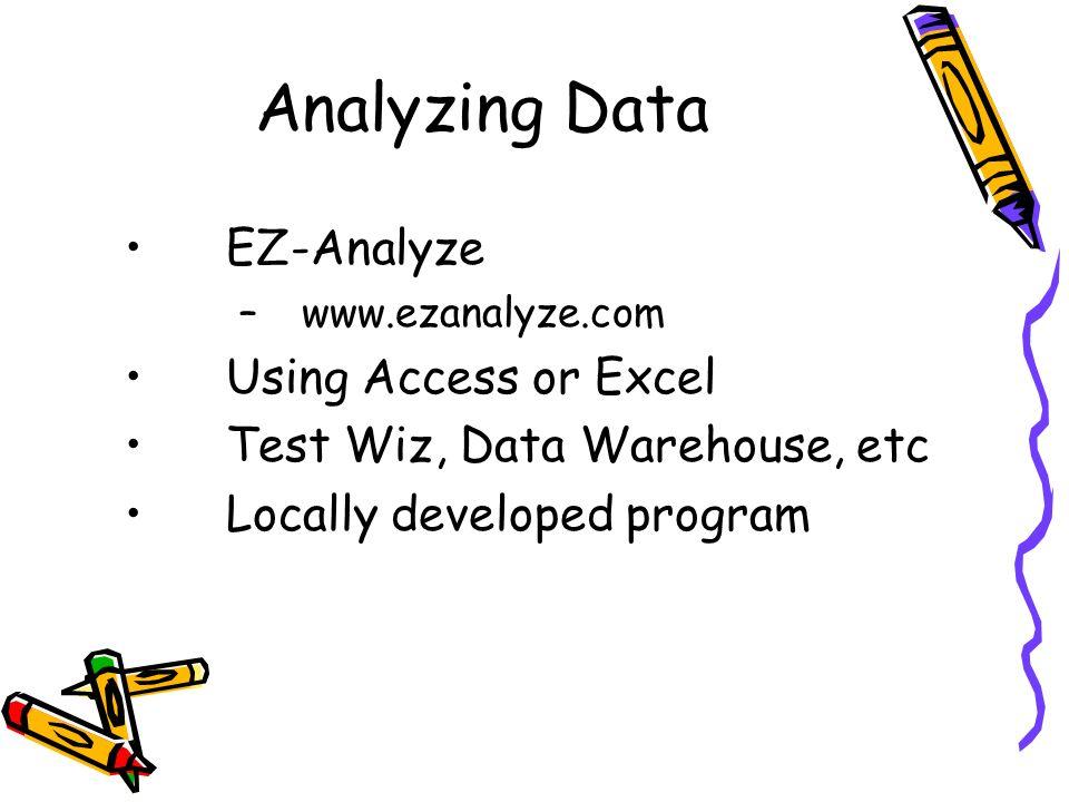 Analyzing Data EZ-Analyze –www.ezanalyze.com Using Access or Excel Test Wiz, Data Warehouse, etc Locally developed program