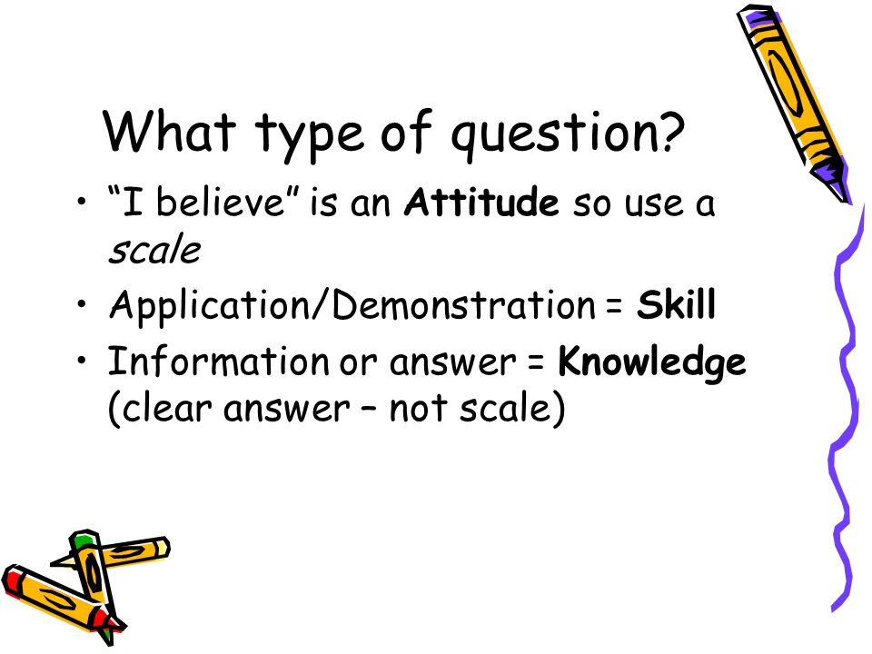 What type of question? I believe is an Attitude so use a scale Application/Demonstration = Skill Information or answer = Knowledge (clear answer – not