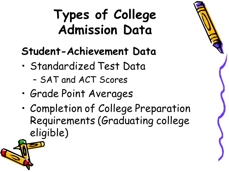 Types of College Admission Data Student-Achievement Data Standardized Test Data –SAT and ACT Scores Grade Point Averages Completion of College Prepara