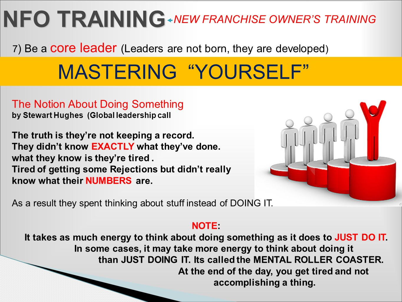NFO TRAINING NEW FRANCHISE OWNERS TRAINING 7 ) Be a core leader (Leaders are not born, they are developed ) MASTERING YOURSELF The Notion About Doing