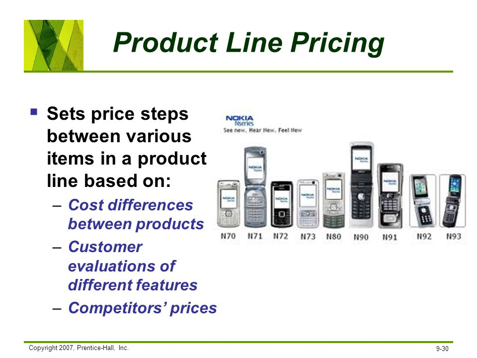 Copyright 2007, Prentice-Hall, Inc. 9-30 Product Line Pricing Sets price steps between various items in a product line based on: –Cost differences bet