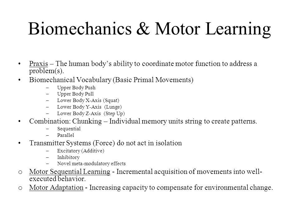 Biomechanics & Motor Learning Praxis – The human bodys ability to coordinate motor function to address a problem(s). Biomechanical Vocabulary (Basic P