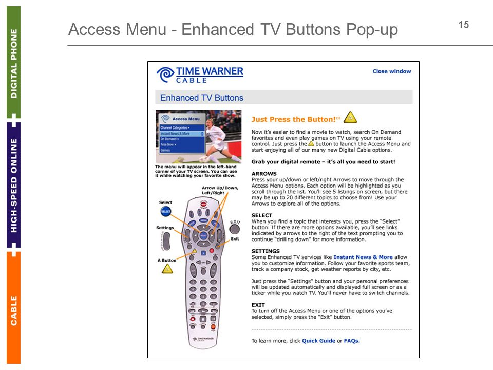 15 Access Menu - Enhanced TV Buttons Pop-up