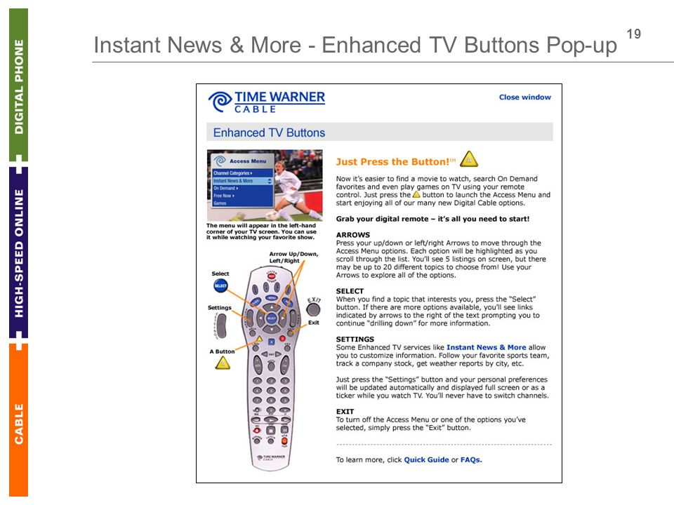 19 Instant News & More - Enhanced TV Buttons Pop-up