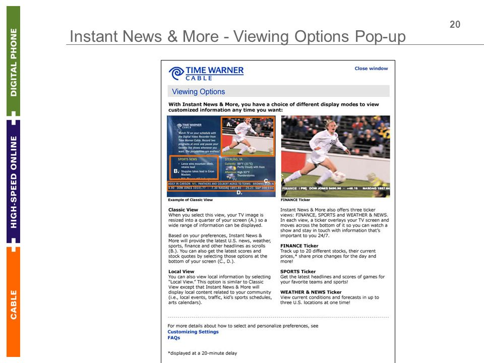 20 Instant News & More - Viewing Options Pop-up