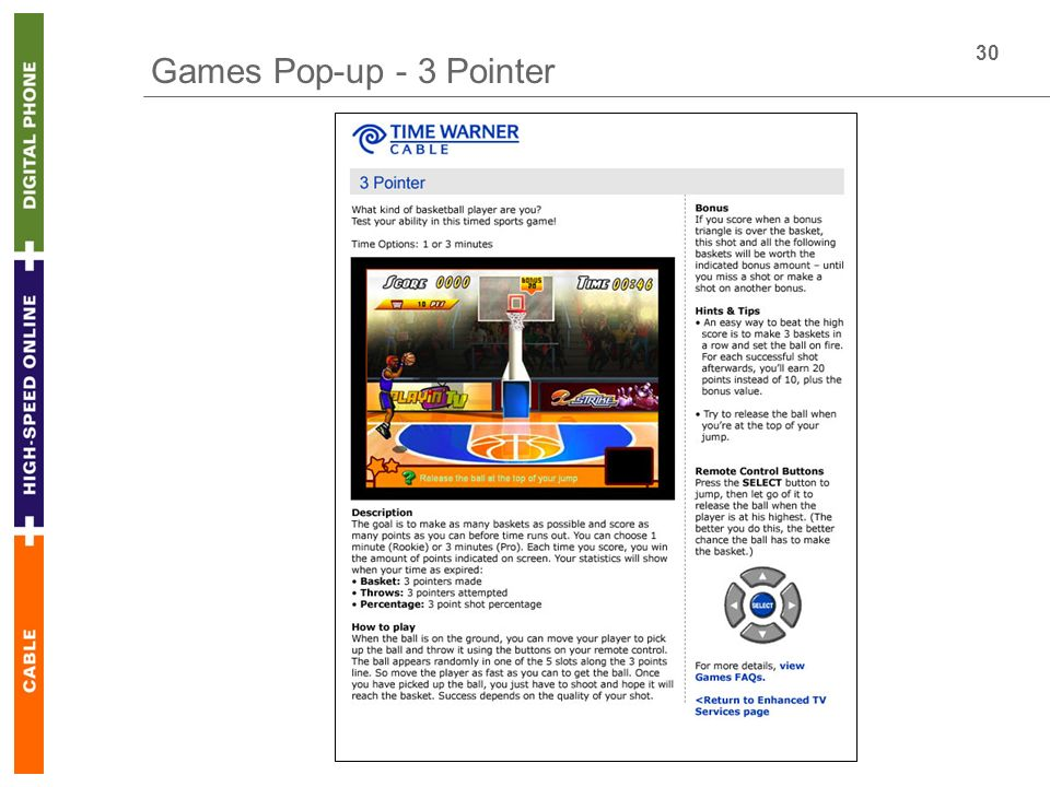 30 Games Pop-up - 3 Pointer