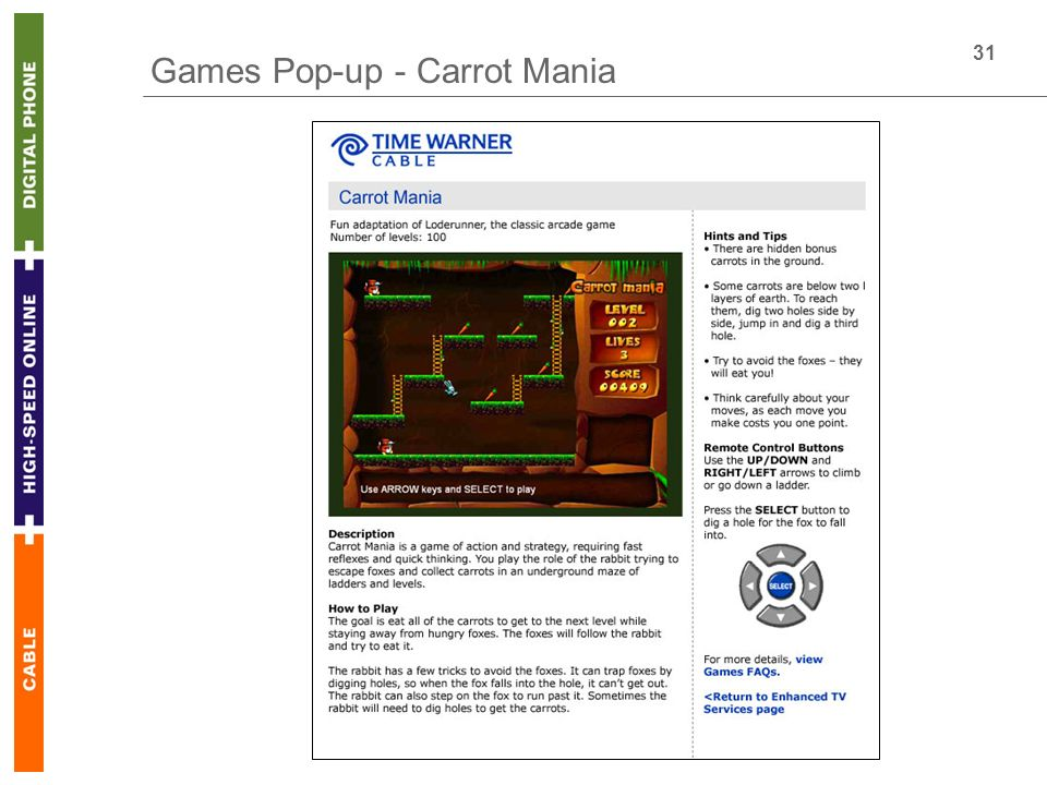 31 Games Pop-up - Carrot Mania