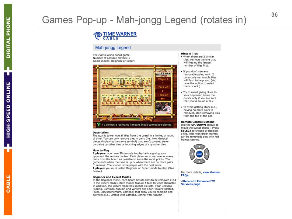 36 Games Pop-up - Mah-jongg Legend (rotates in)