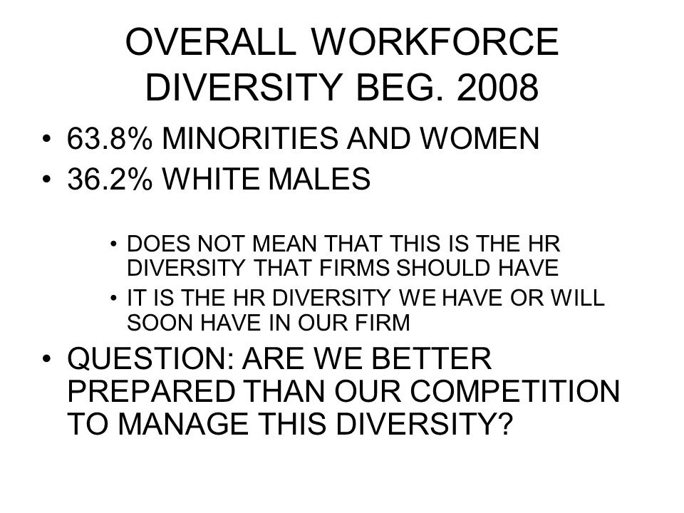 OVERALL WORKFORCE DIVERSITY BEG.