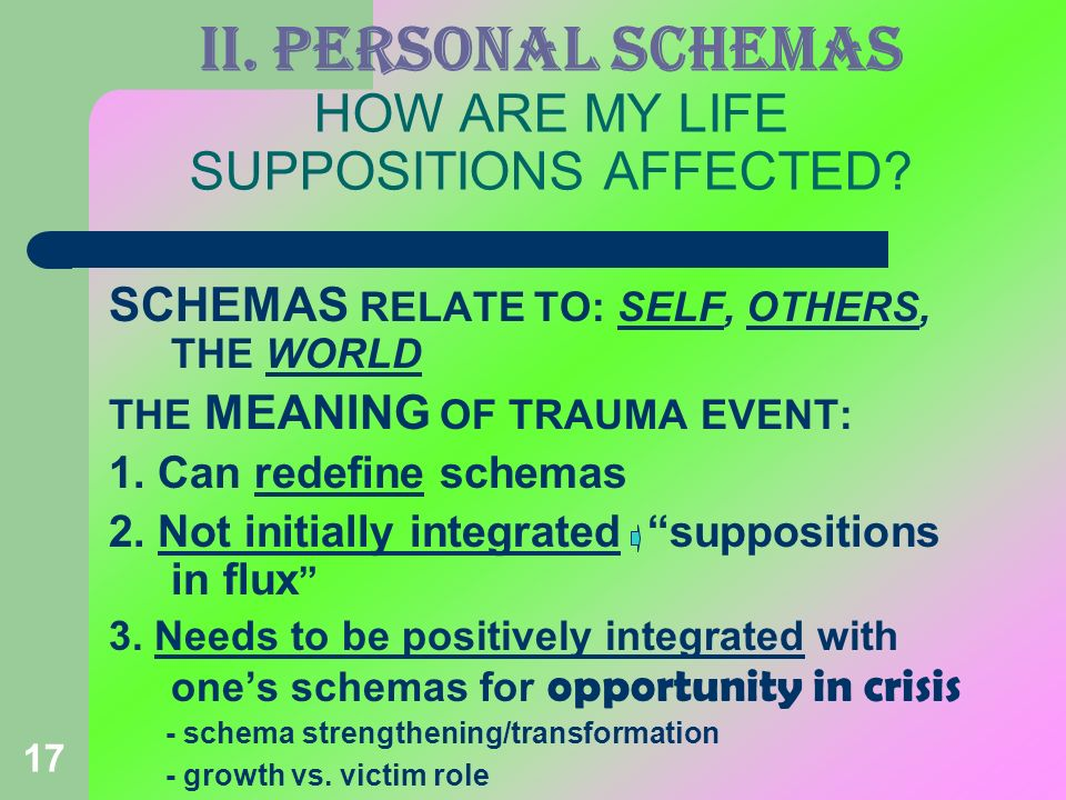 17 II. PERSONAL SCHEMAS HOW ARE MY LIFE SUPPOSITIONS AFFECTED? SCHEMAS RELATE TO: SELF, OTHERS, THE WORLD THE MEANING OF TRAUMA EVENT: 1. Can redefine
