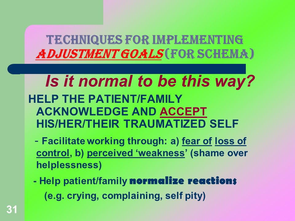 31 TECHNIQUES FOR IMPLEMENTING ADJUSTMENT GOALS (FOR SCHEMA) Is it normal to be this way? HELP THE PATIENT/FAMILY ACKNOWLEDGE AND ACCEPT HIS/HER/THEIR