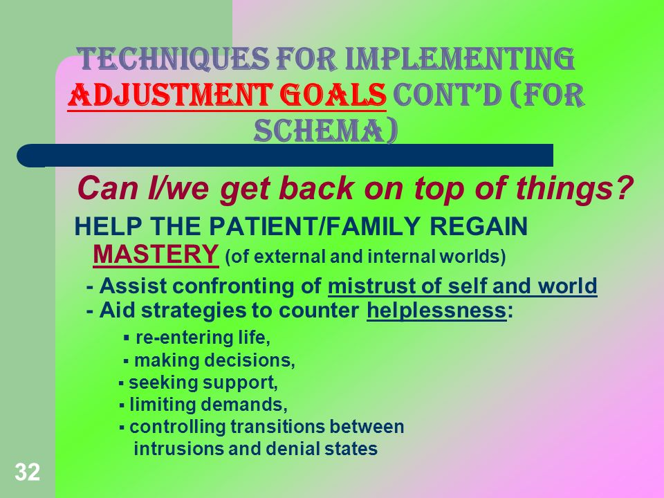 32 Can I/we get back on top of things? HELP THE PATIENT/FAMILY REGAIN MASTERY (of external and internal worlds) - Assist confronting of mistrust of se