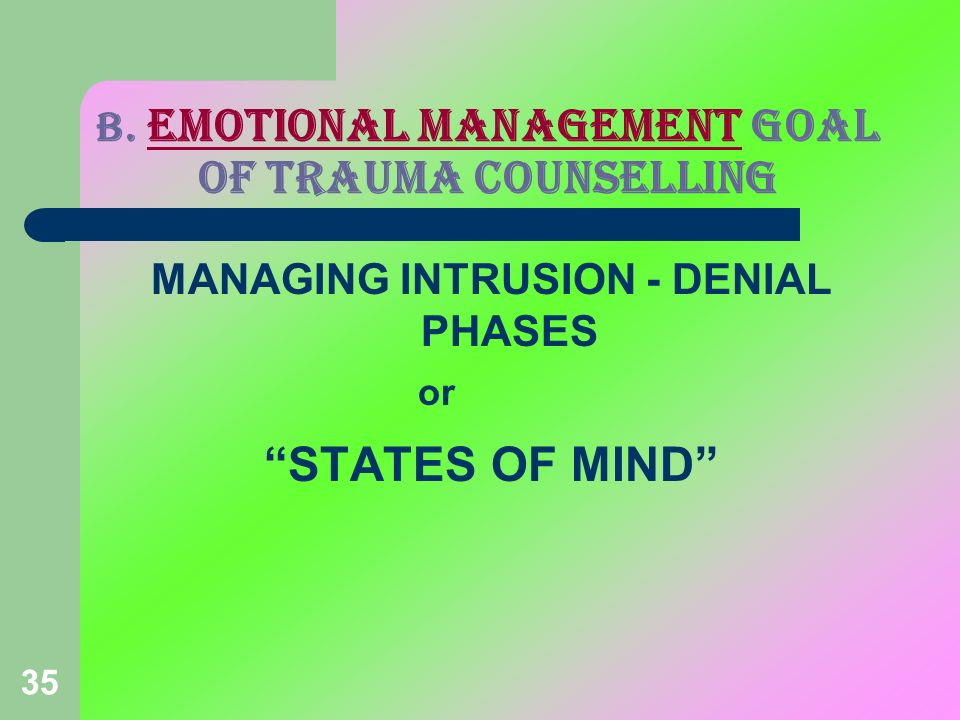 35 B. EMOTIONAL MANAGEMENT GOAL OF TRAUMA COUNSELLING MANAGING INTRUSION - DENIAL PHASES or STATES OF MIND