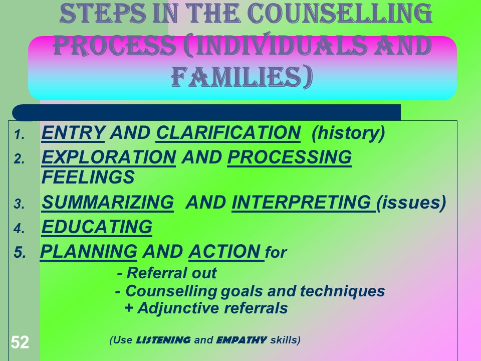 52 STEPS IN THE COUNSELLING PROCESS (individuals and families) 1. ENTRY AND CLARIFICATION (history) 2. EXPLORATION AND PROCESSING FEELINGS 3. SUMMARIZ