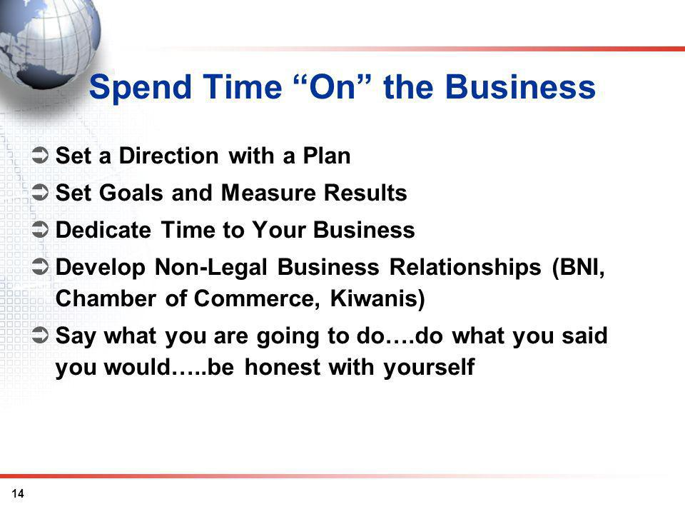 14 Spend Time On the Business Set a Direction with a Plan Set Goals and Measure Results Dedicate Time to Your Business Develop Non-Legal Business Rela