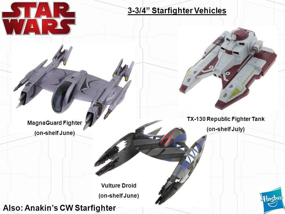Vulture Droid (on-shelf June) MagnaGuard Fighter (on-shelf June) TX-130 Republic Fighter Tank (on-shelf July) 3-3/4 Starfighter Vehicles Also: Anakins
