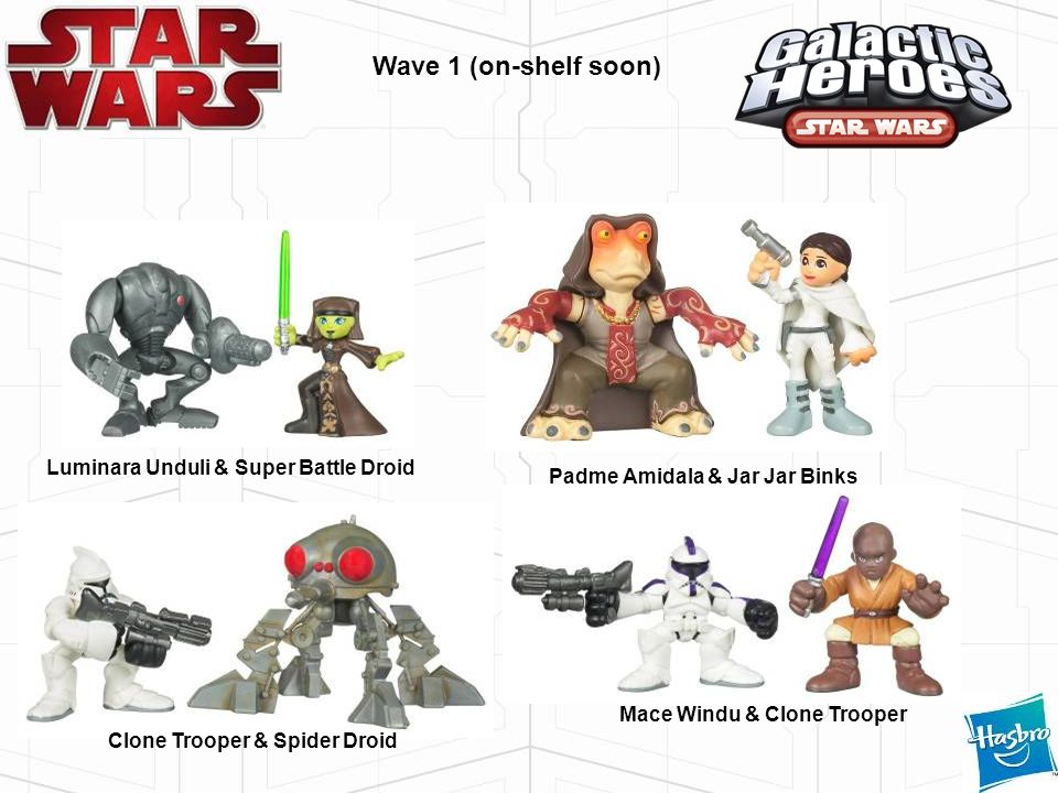 Wave 1 (on-shelf soon) Luminara Unduli & Super Battle Droid Mace Windu & Clone Trooper Padme Amidala & Jar Jar Binks Clone Trooper & Spider Droid
