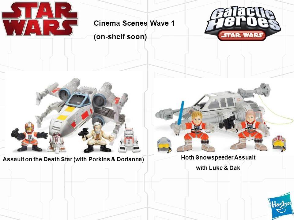 Cinema Scenes Wave 1 (on-shelf soon) Assault on the Death Star (with Porkins & Dodanna) Hoth Snowspeeder Assualt with Luke & Dak