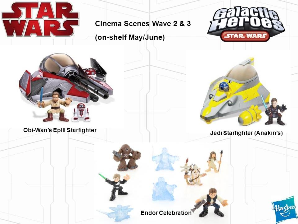 Cinema Scenes Wave 2 & 3 (on-shelf May/June) Obi-Wans EpIII Starfighter Jedi Starfighter (Anakins) Endor Celebration