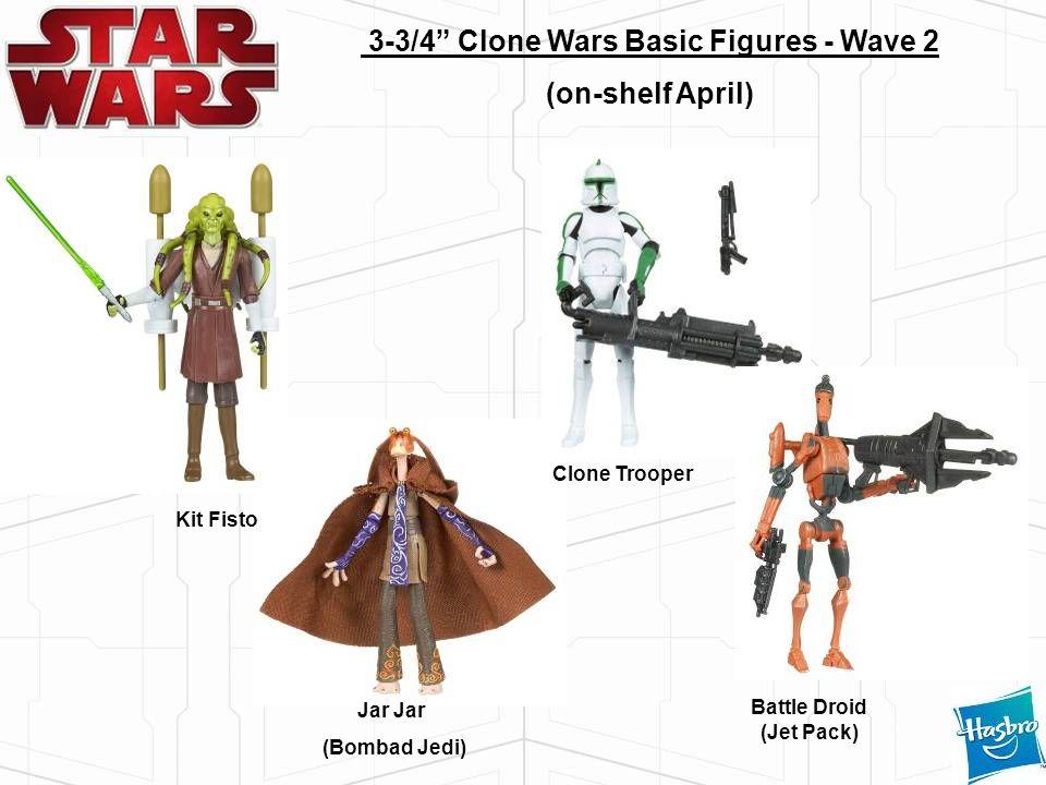Jar (Bombad Jedi) 3-3/4 Clone Wars Basic Figures - Wave 2 (on-shelf April) Clone Trooper Battle Droid (Jet Pack) Kit Fisto