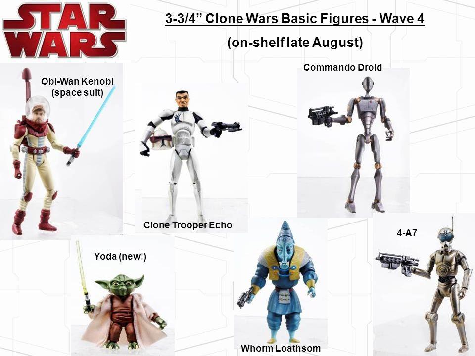 3-3/4 Clone Wars Basic Figures - Wave 4 (on-shelf late August) Whorm Loathsom Clone Trooper Echo Obi-Wan Kenobi (space suit) Commando Droid 4-A7 Yoda
