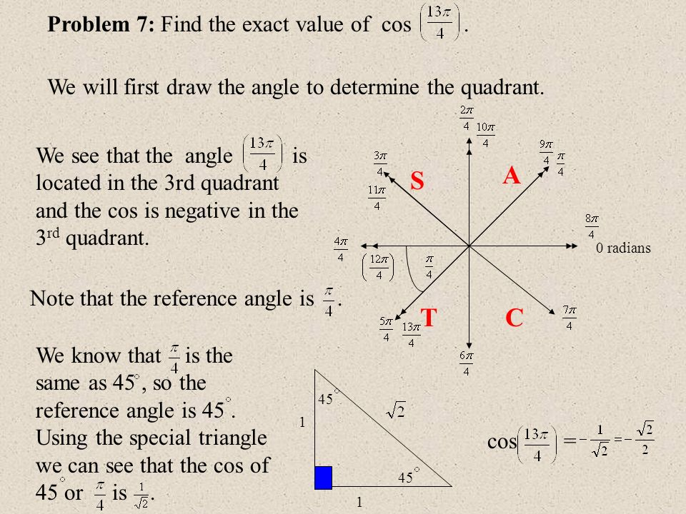 0 radians Problem 7: Find the exact value of cos. We will first draw the angle to determine the quadrant. A S TC 45 1 1 We know that is the same as 45
