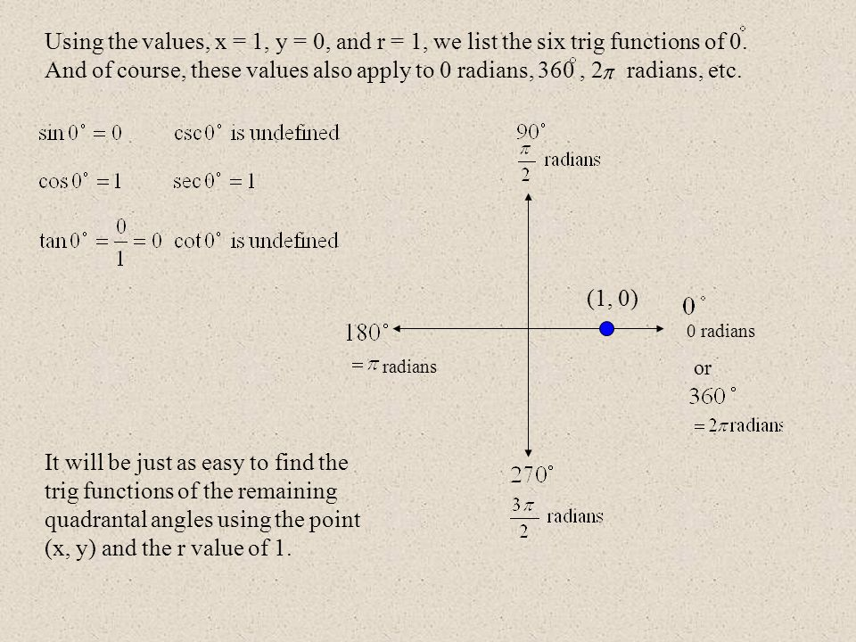 0 radians radians (1, 0) or Using the values, x = 1, y = 0, and r = 1, we list the six trig functions of 0. And of course, these values also apply to