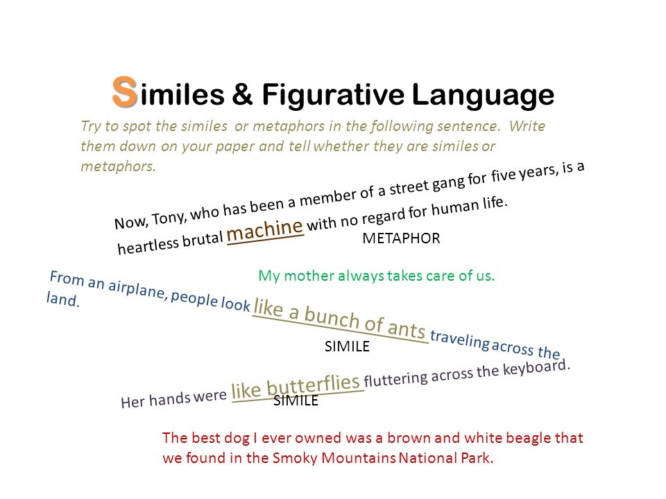 S imiles & Figurative Language Write a simile or metaphor to complete at least three of the following sentences.