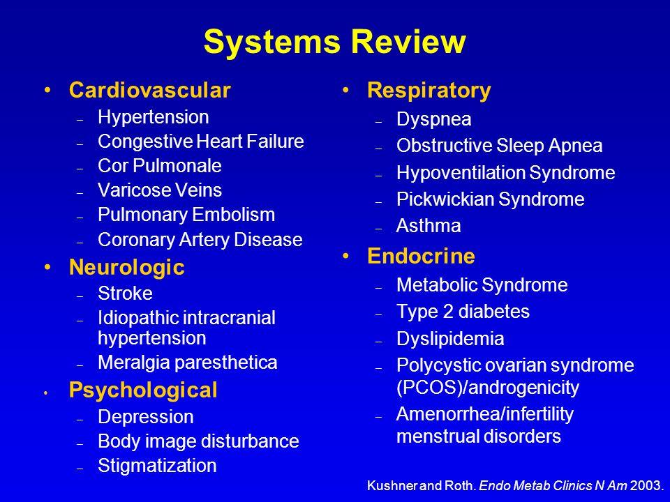Cardiovascular – Hypertension – Congestive Heart Failure – Cor Pulmonale – Varicose Veins – Pulmonary Embolism – Coronary Artery Disease Neurologic –