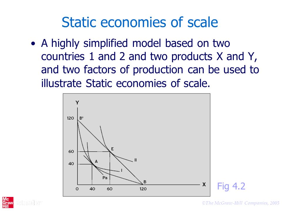 © The McGraw-Hill Companies, 2005 Static economies of scale A highly simplified model based on two countries 1 and 2 and two products X and Y, and two factors of production can be used to illustrate Static economies of scale.