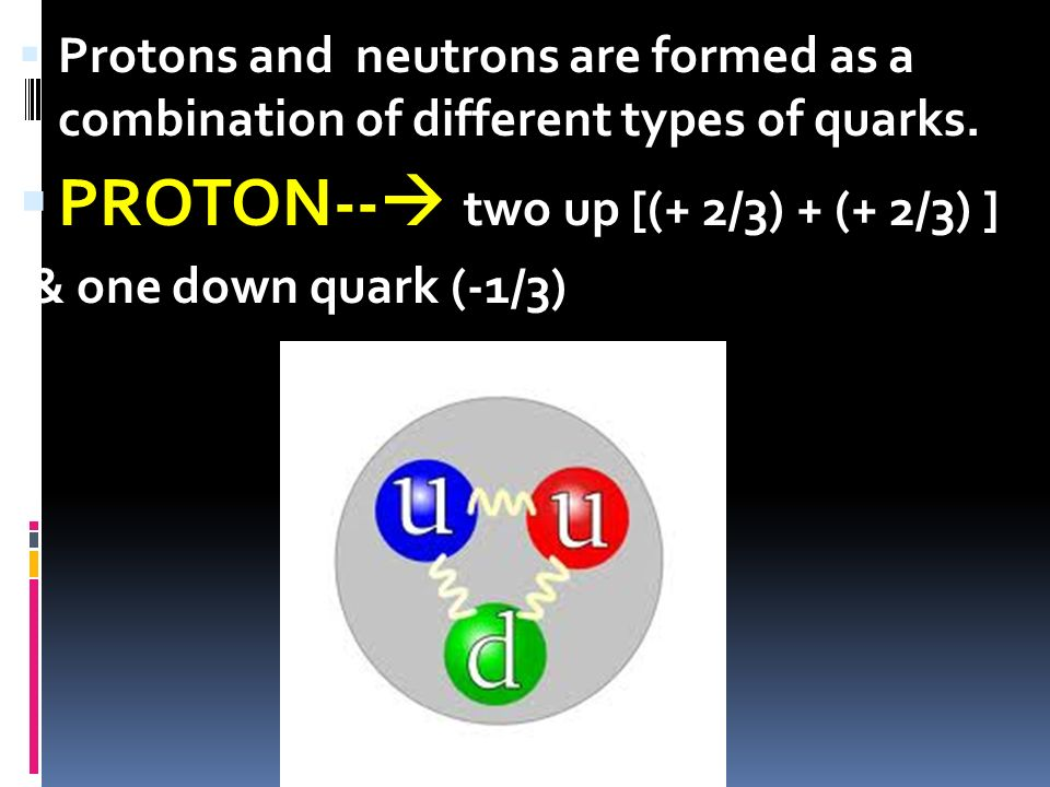 Protons and neutrons are formed as a combination of different types of quarks. PROTON-- two up [(+ 2/3) + (+ 2/3) ] & one down quark (-1/3)