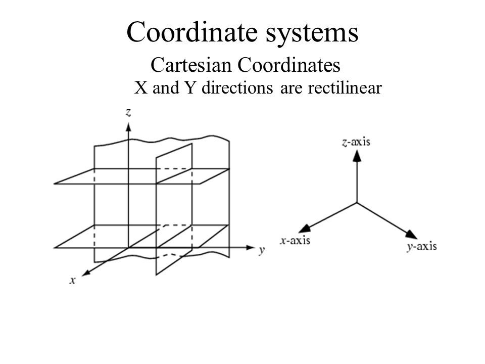 Coordinate systems Cartesian Coordinates X and Y directions are rectilinear