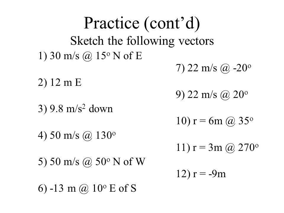 Practice (contd) Sketch the following vectors 1) 30 m/s @ 15 o N of E 2) 12 m E 3) 9.8 m/s 2 down 4) 50 m/s @ 130 o 5) 50 m/s @ 50 o N of W 6) -13 m @