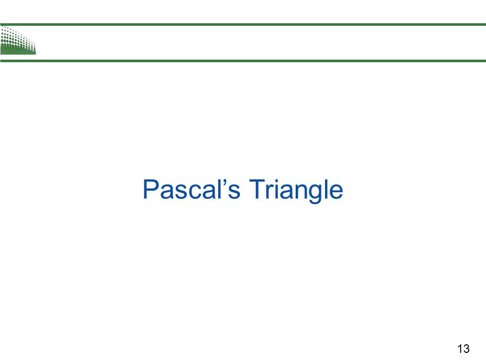 13 Pascals Triangle