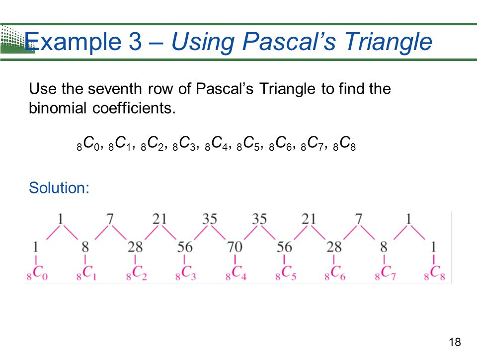 18 Example 3 – Using Pascals Triangle Use the seventh row of Pascals Triangle to find the binomial coefficients. 8 C 0, 8 C 1, 8 C 2, 8 C 3, 8 C 4, 8