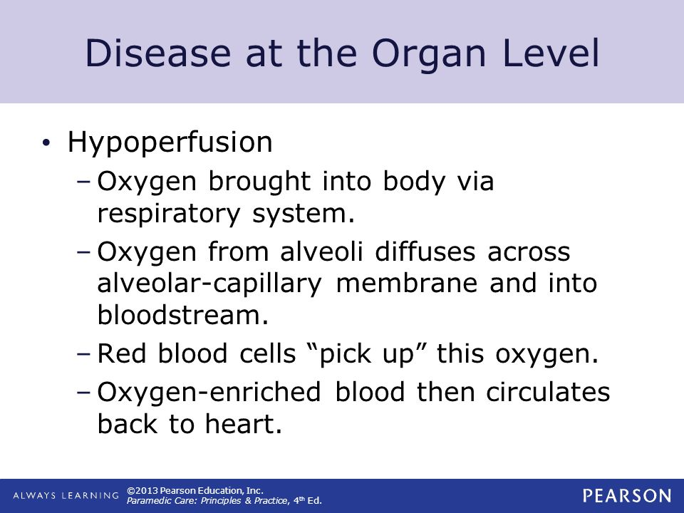 ©2013 Pearson Education, Inc. Paramedic Care: Principles & Practice, 4 th Ed. Disease at the Organ Level Hypoperfusion –Oxygen brought into body via r