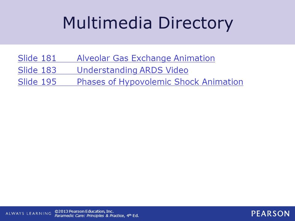 ©2013 Pearson Education, Inc. Paramedic Care: Principles & Practice, 4 th Ed. Multimedia Directory Slide 181Alveolar Gas Exchange Animation Slide 183U