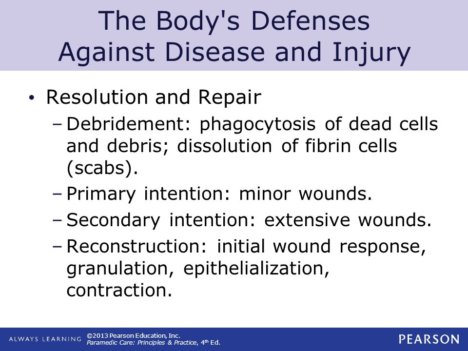©2013 Pearson Education, Inc. Paramedic Care: Principles & Practice, 4 th Ed. The Body's Defenses Against Disease and Injury Resolution and Repair –De