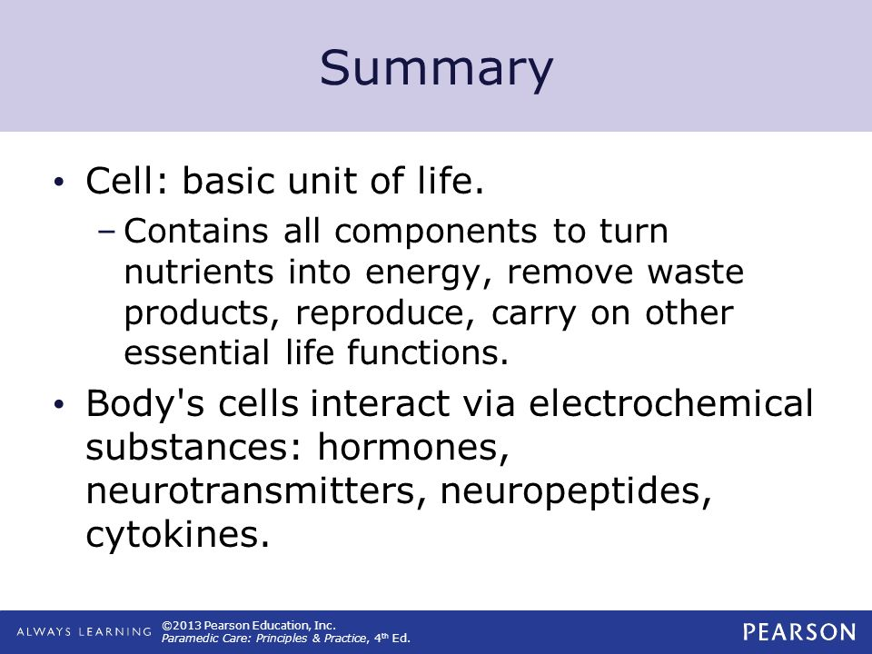 ©2013 Pearson Education, Inc. Paramedic Care: Principles & Practice, 4 th Ed. Summary Cell: basic unit of life. –Contains all components to turn nutri